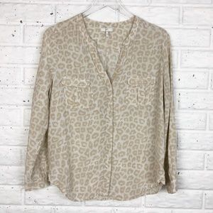 JOIE Silk Button up animal print blouse